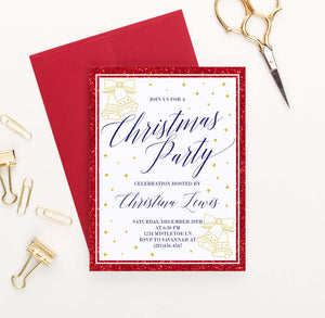 CPI002 red and gold personalized holiday party invitations glitter elegant