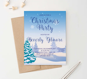 CPI004 snow personalized holiday party invitation with pine trees snowflakes landscape