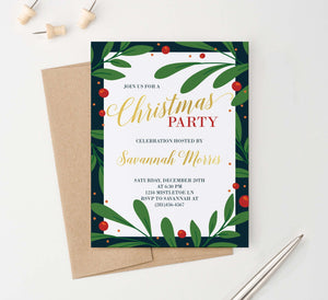 CPI006 elegant holly framed holiday party invitations personalized christmas merry 2