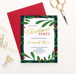 CPI006 elegant holly framed holiday party invitations personalized christmas merry