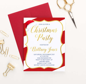 CPI009 candy cane striped border christmas party invites with santa hat gold red
