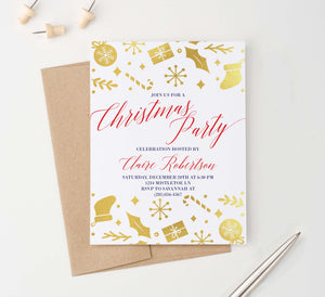 CPI010 gold foil christmas party invitation personalized presents candy canes stockings 2