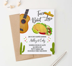 EI014 fiesta engagement party invites with taco cactus guitar