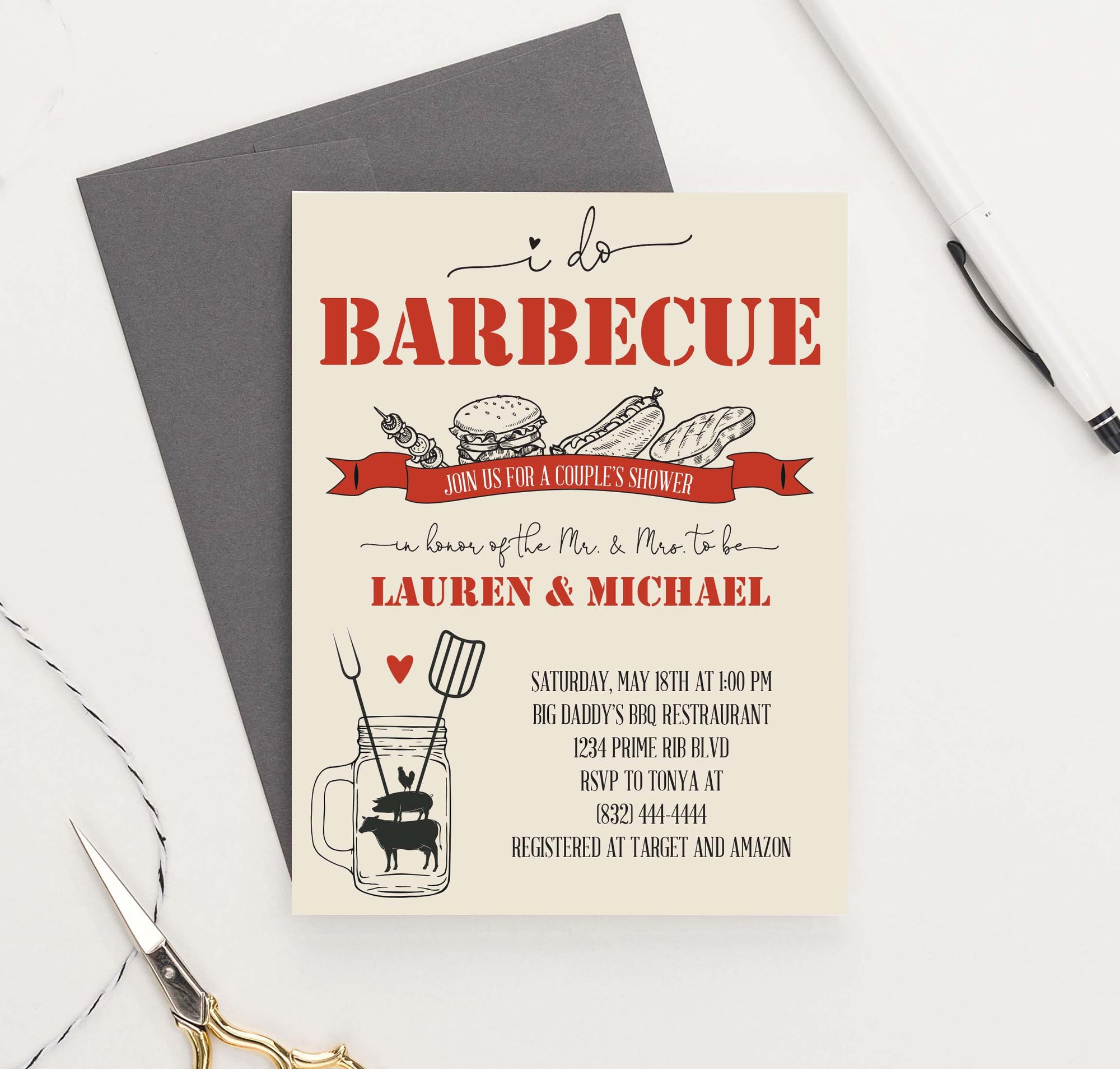 Personalized Bbq Engagement Party Invite Set
