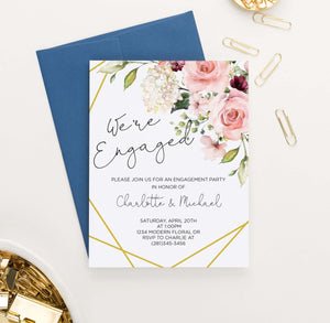 EI026 elegant floral corner engagement party invites personlized flowers gold lines 2
