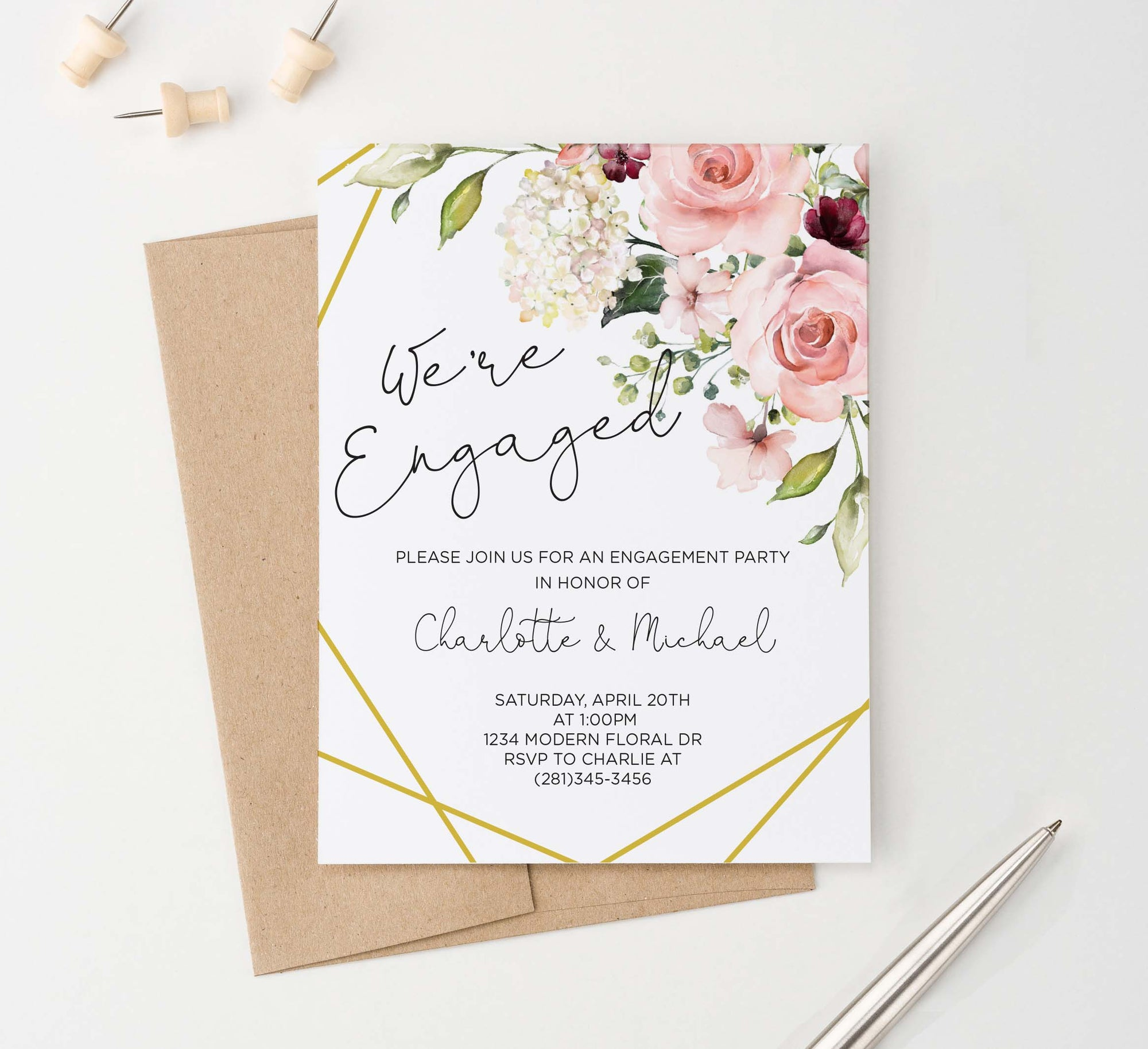EI026 elegant floral corner engagement party invites personlized flowers gold lines