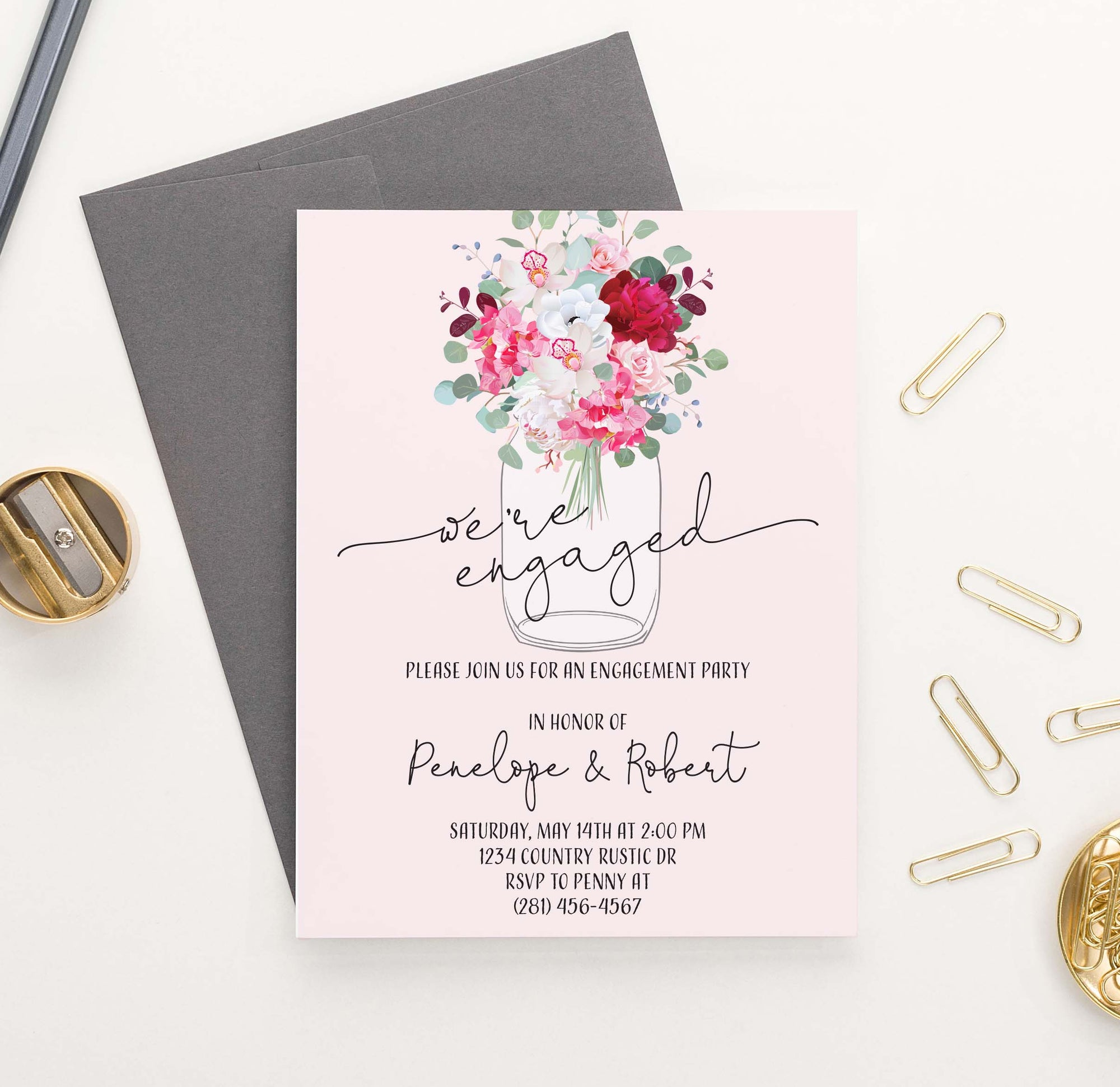 EI027 rustic mason jar  engagement party invites personalized modern floral flowers