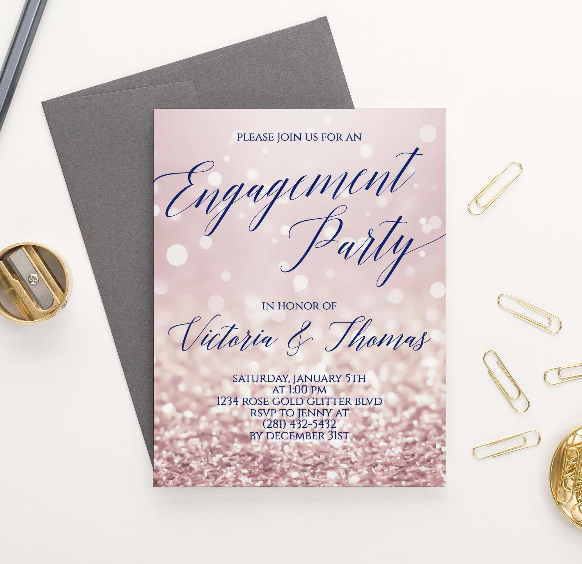 EI030 personalized rose gold engagement party invites elegant glitter sparkles