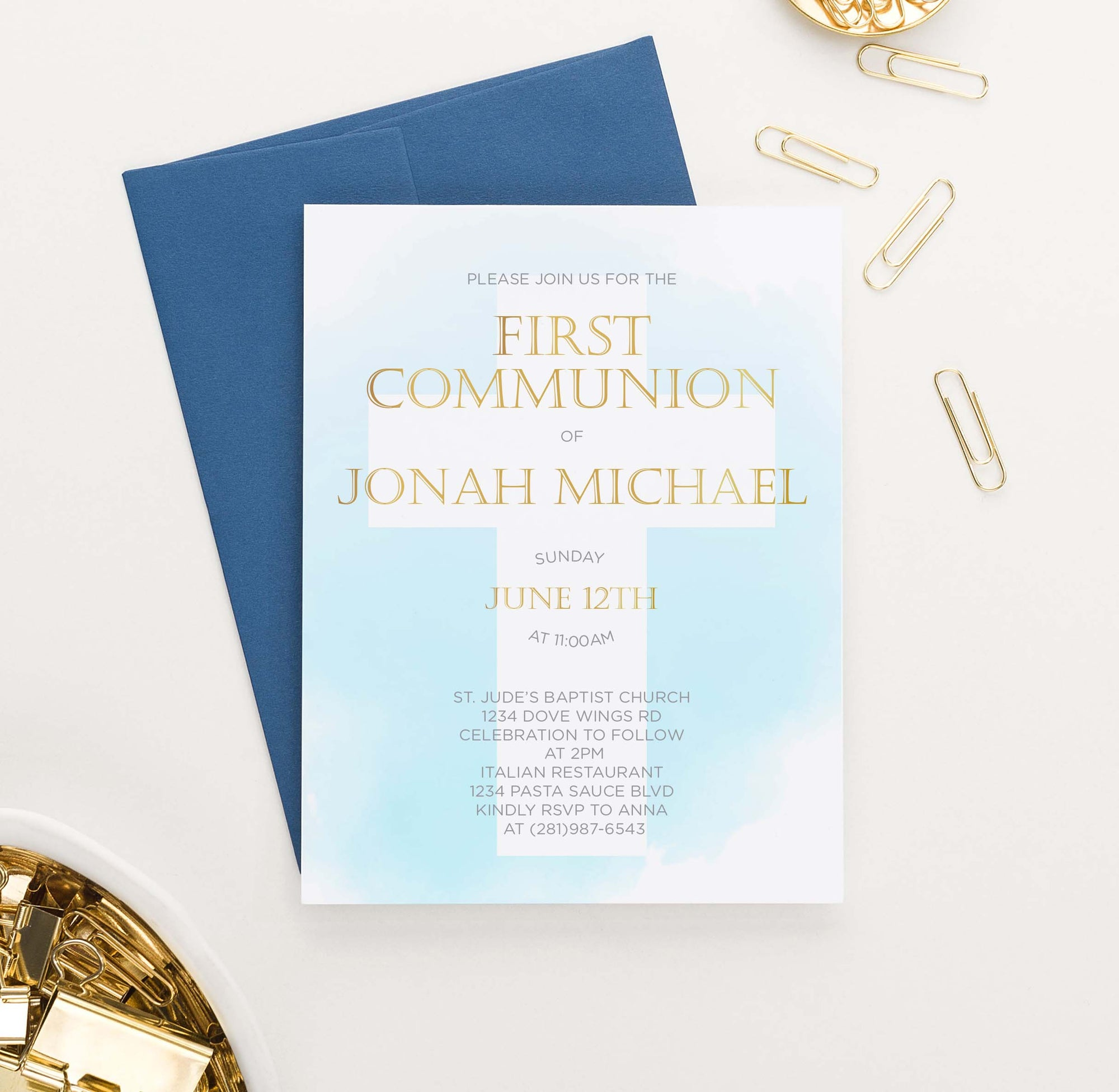 FCI007 blue watercolor first communion invitations for boy gold cross 1