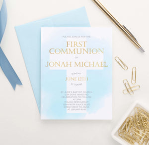 FCI007 blue watercolor first communion invitations for boy gold cross