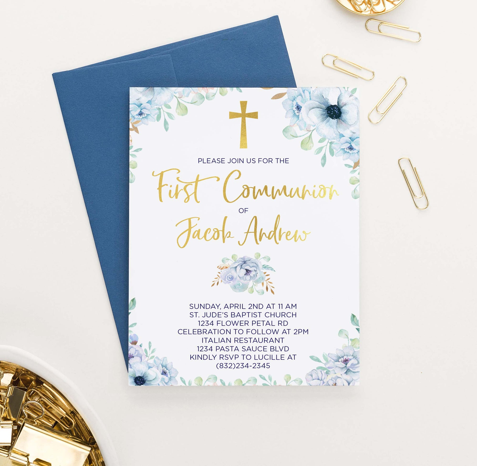 FCI009 personalized first communion invitations with blue florals gold cross elegant