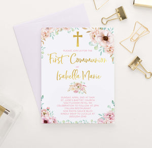 FCI010 pink floral and gold first communion invitations for girls rustic elegant 1