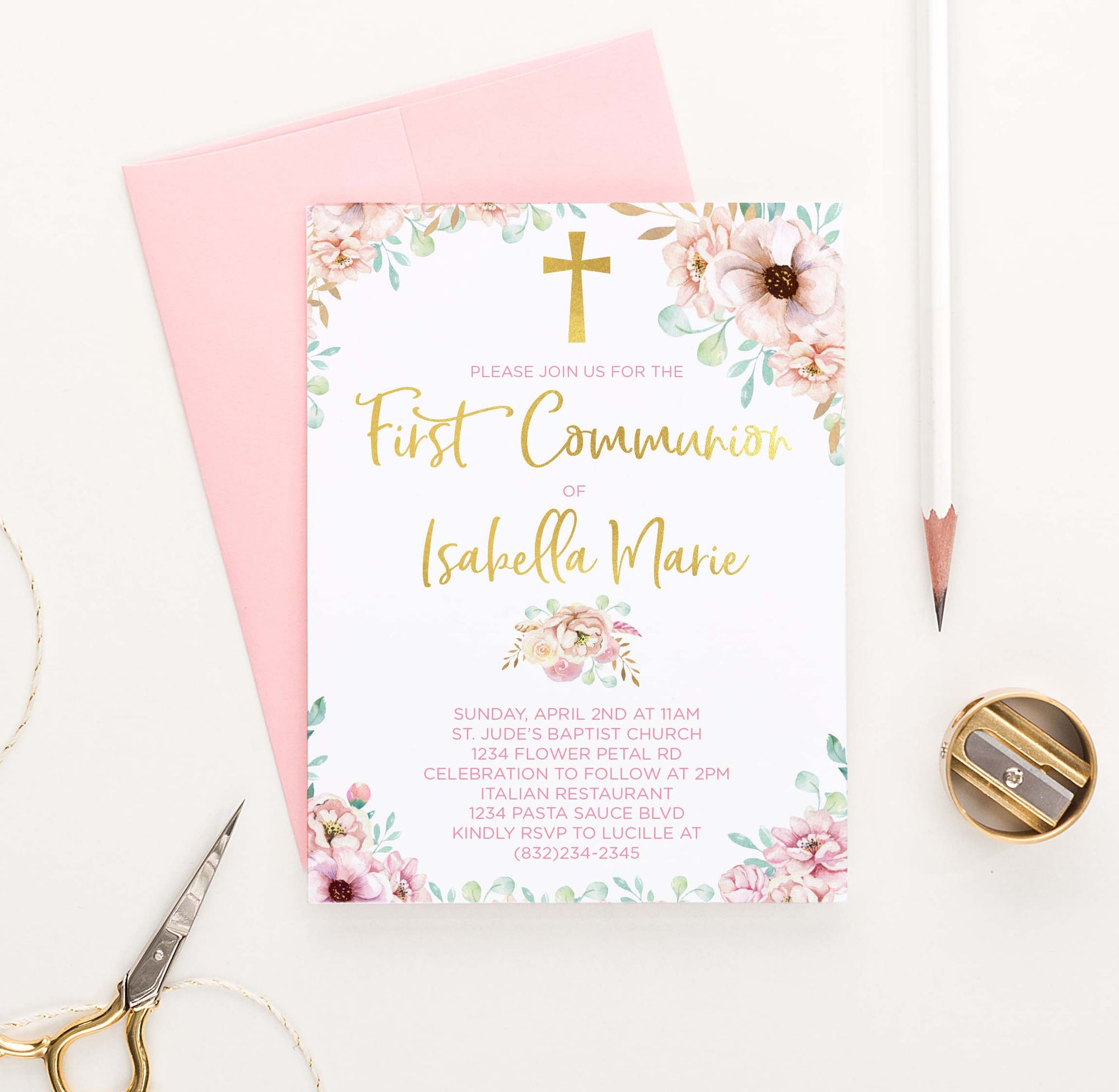 FCI010 pink floral and gold first communion invitations for girls rustic elegant