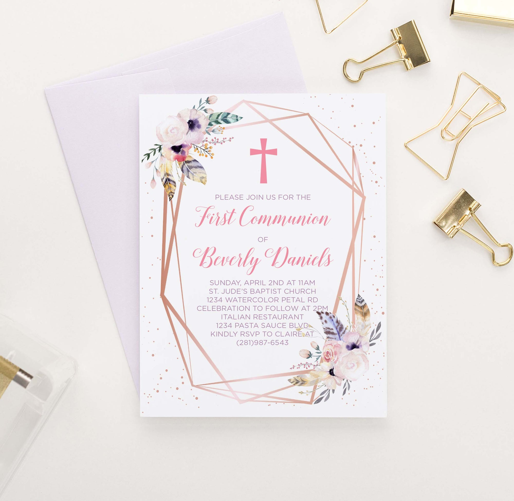FCI011 bohemian floral first communion invitations rose gold rustic feather florals