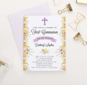 FCI014 personalized first communion invitations with yellow and purple florals flowers elegant  1