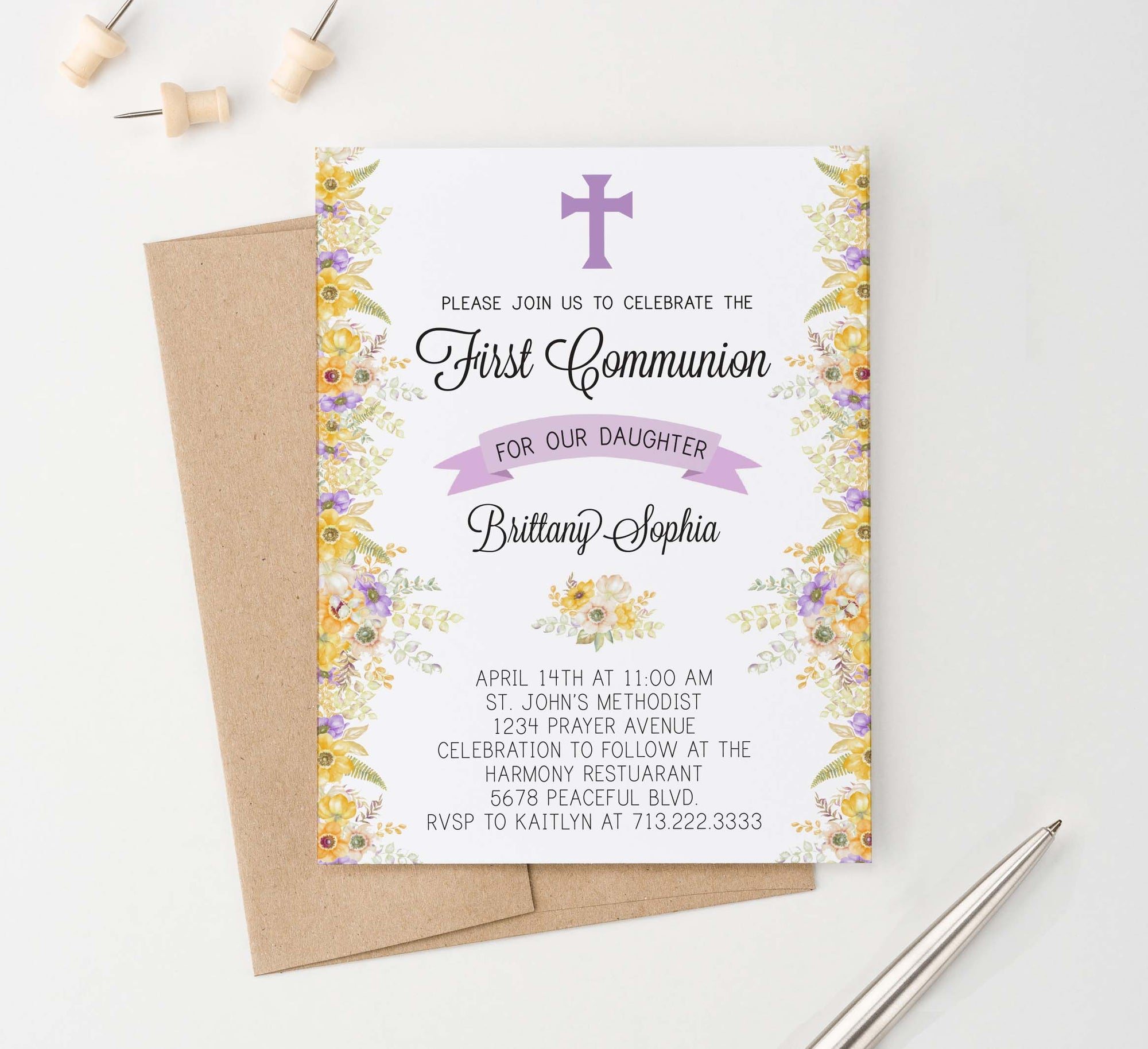 FCI014 personalized first communion invitations with yellow and purple florals flowers elegant