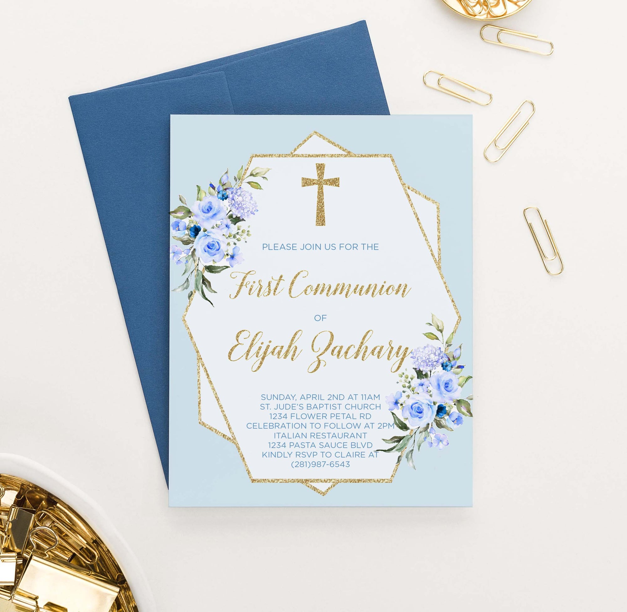 FCI018 boys blue and gold first communion invitations with florals cross glitter 1