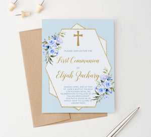 FCI018 boys blue and gold first communion invitations with florals cross glitter