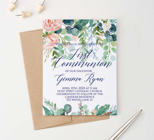FCI020 greenery and blush florals first communion invitations set navy elegant 1