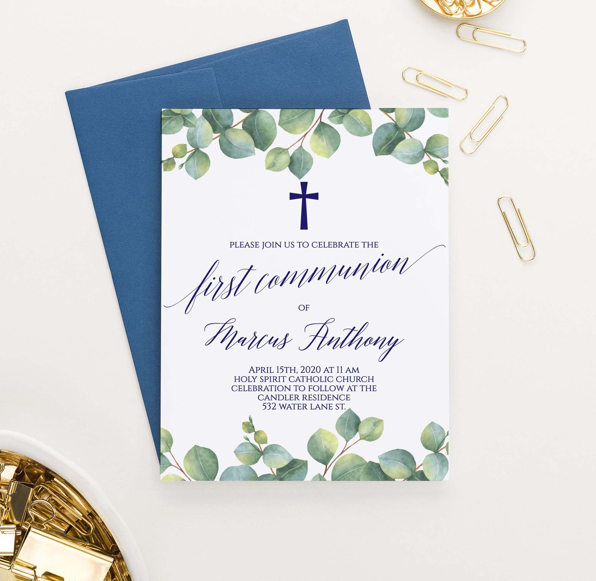 FCI021 greenery top and bottom border first communion invitations personalized leaves cross navy 1