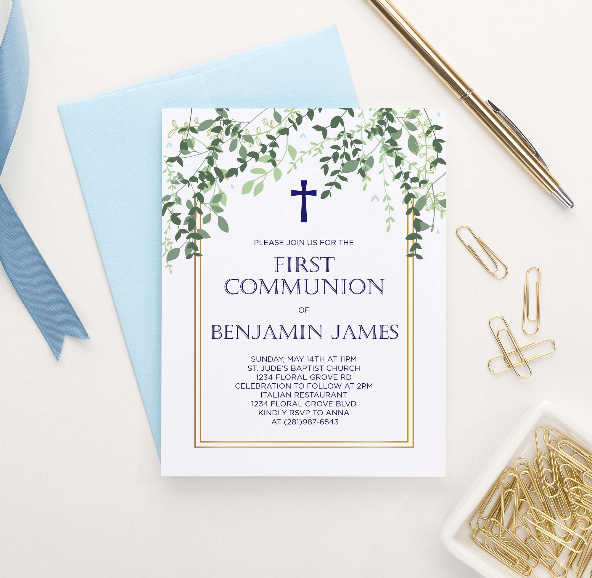 FCI023 elegant greenery and gold frame first communion invite set leaves vines 1