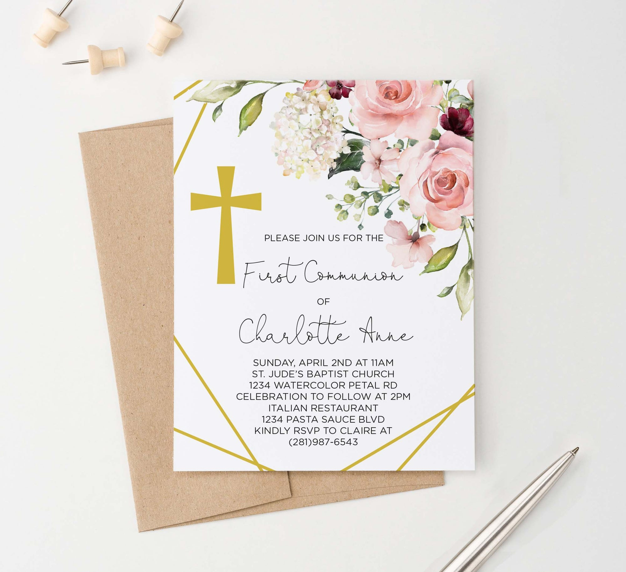FCI029 elegant floral corner first communion invitations personalized cross gold lines 1
