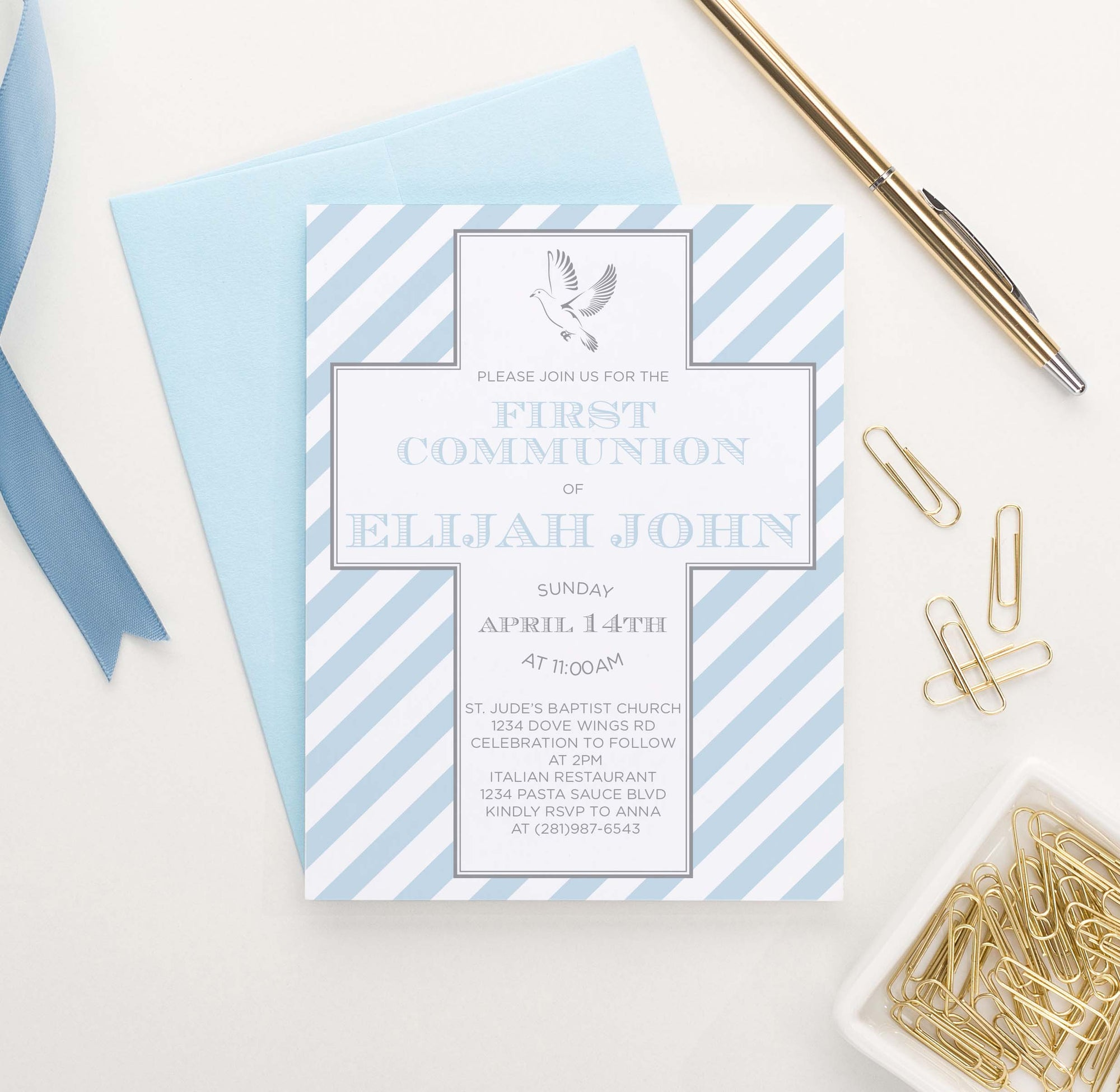 FCI036 personalized first communion invitations with blue stripes simple cross dove 1