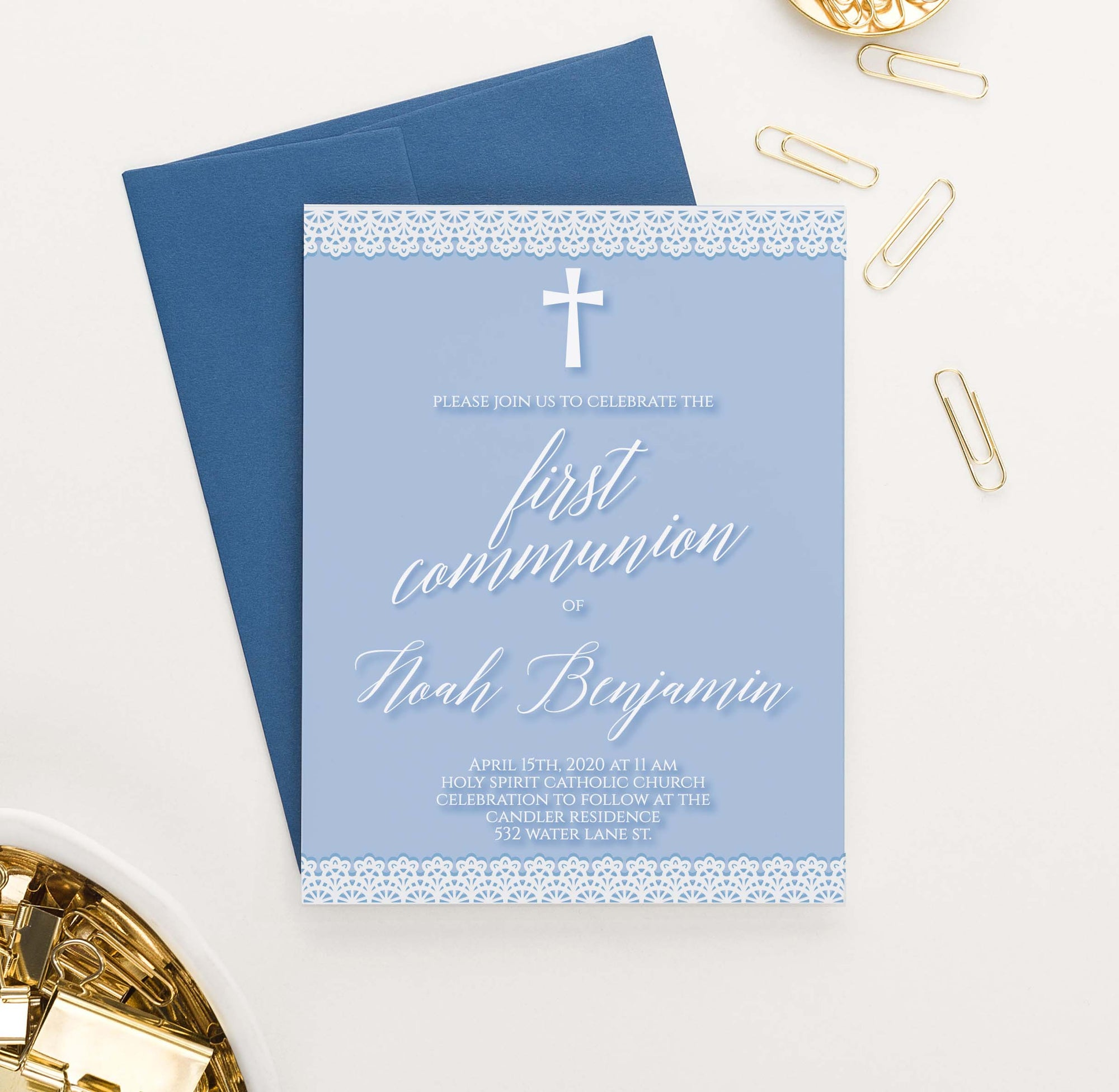 FCI041 blue first communion invitations with lace simple cross
