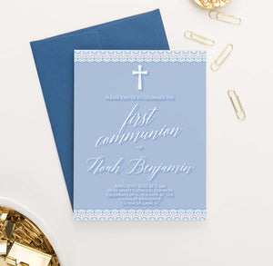 FCI041 blue first communion invitations with lace simple cross 1