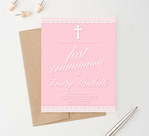 FCI042 pink first communion personalized invites with lace simple cross girls 1