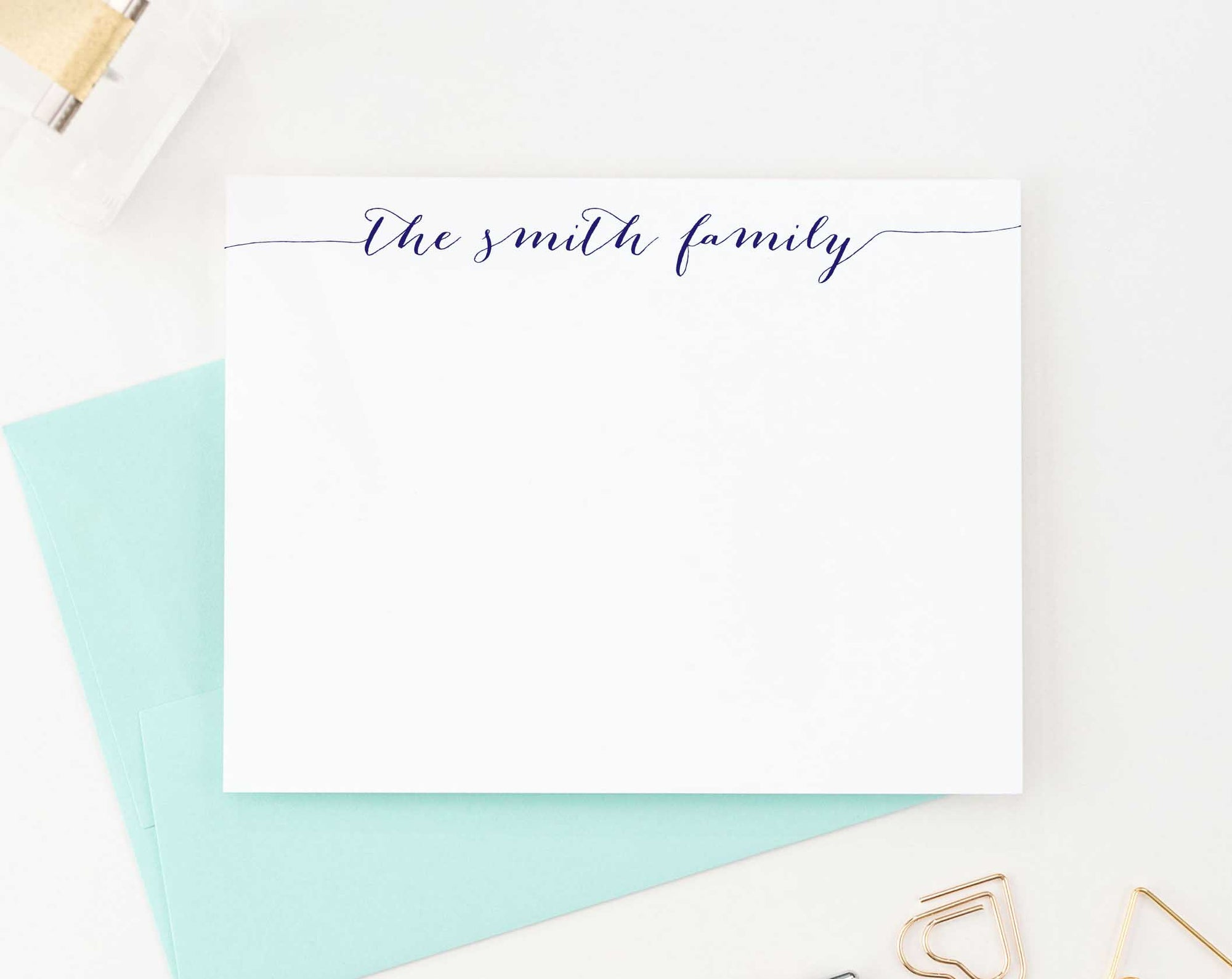 FS001 simple script family stationery personalized couple elegant anniversary gift 1