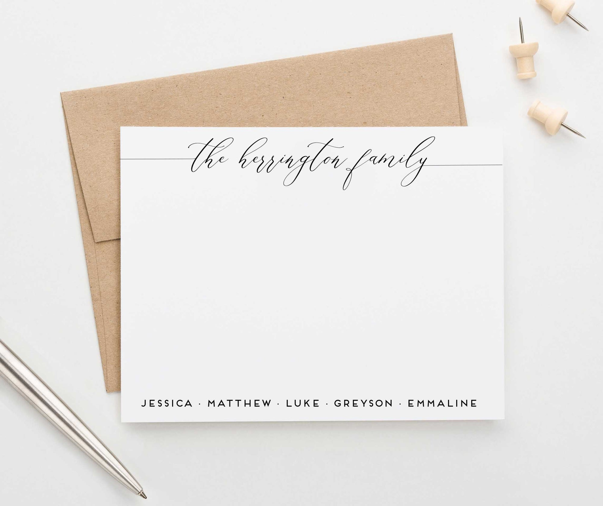 FS012 elegant script font couples stationery with names family enagement anniversary 1