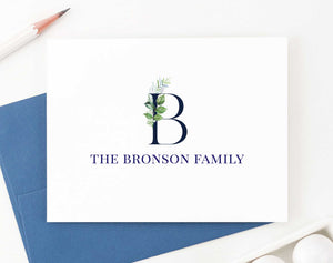 FS013 greenery initial and last name stationery for couples family anniversary engagement gifts 1