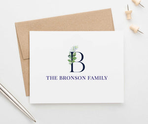 FS013 greenery initial and last name stationery for couples family anniversary engagement gifts
