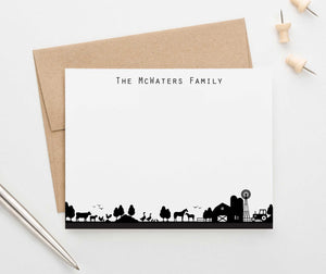 FS014 personalized farm silhouette family stationary couples simple last name 1