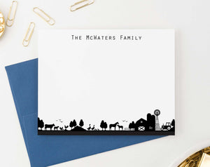 FS014 personalized farm silhouette family stationary couples simple last name 2