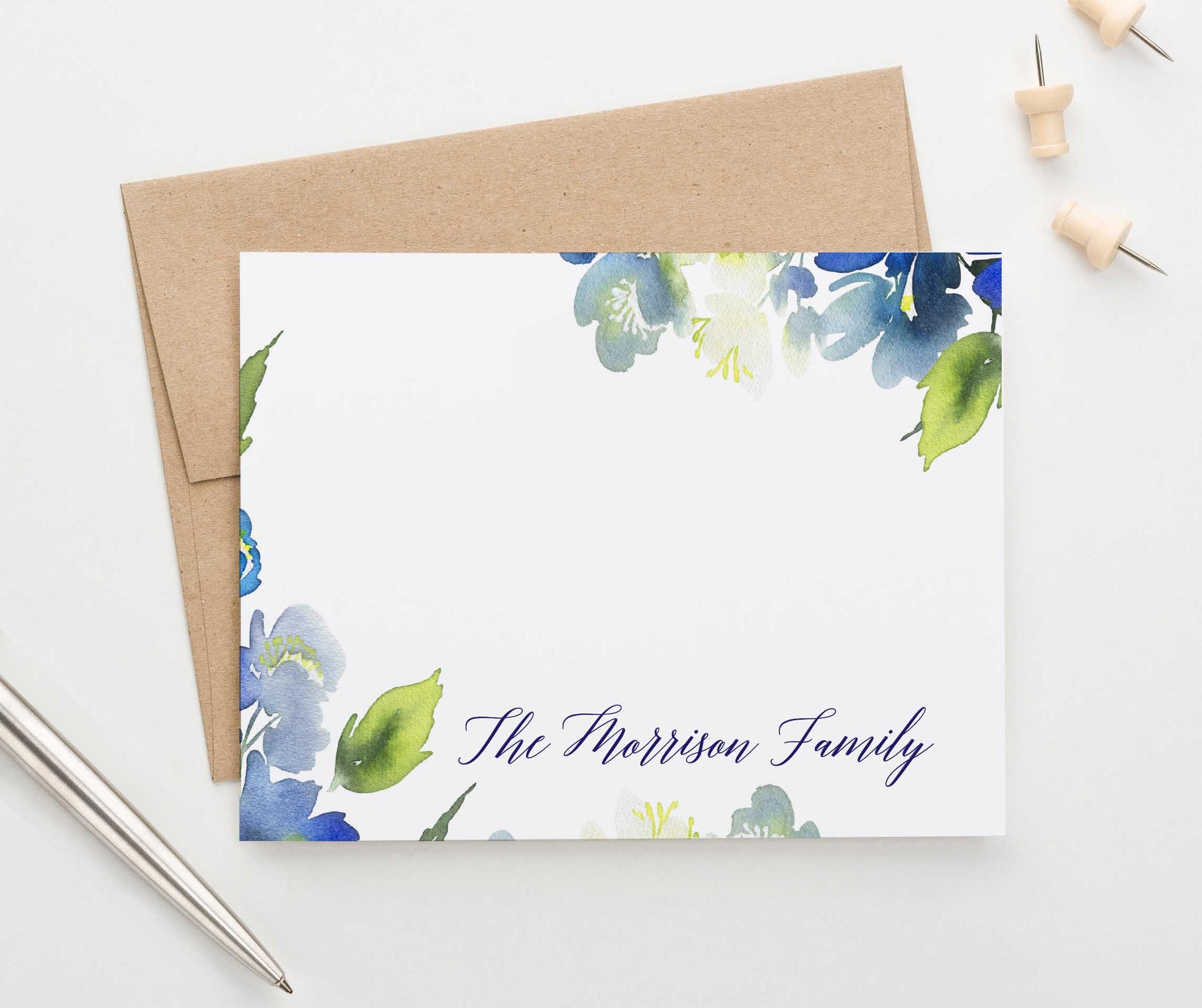 FS015 watercolor blue greenery family thank you notes couples wedding personalized 1