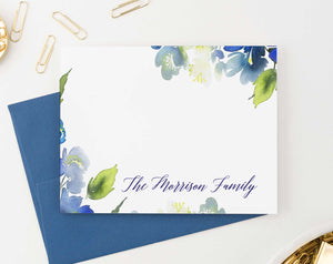 FS015 watercolor blue greenery family thank you notes couples wedding personalized