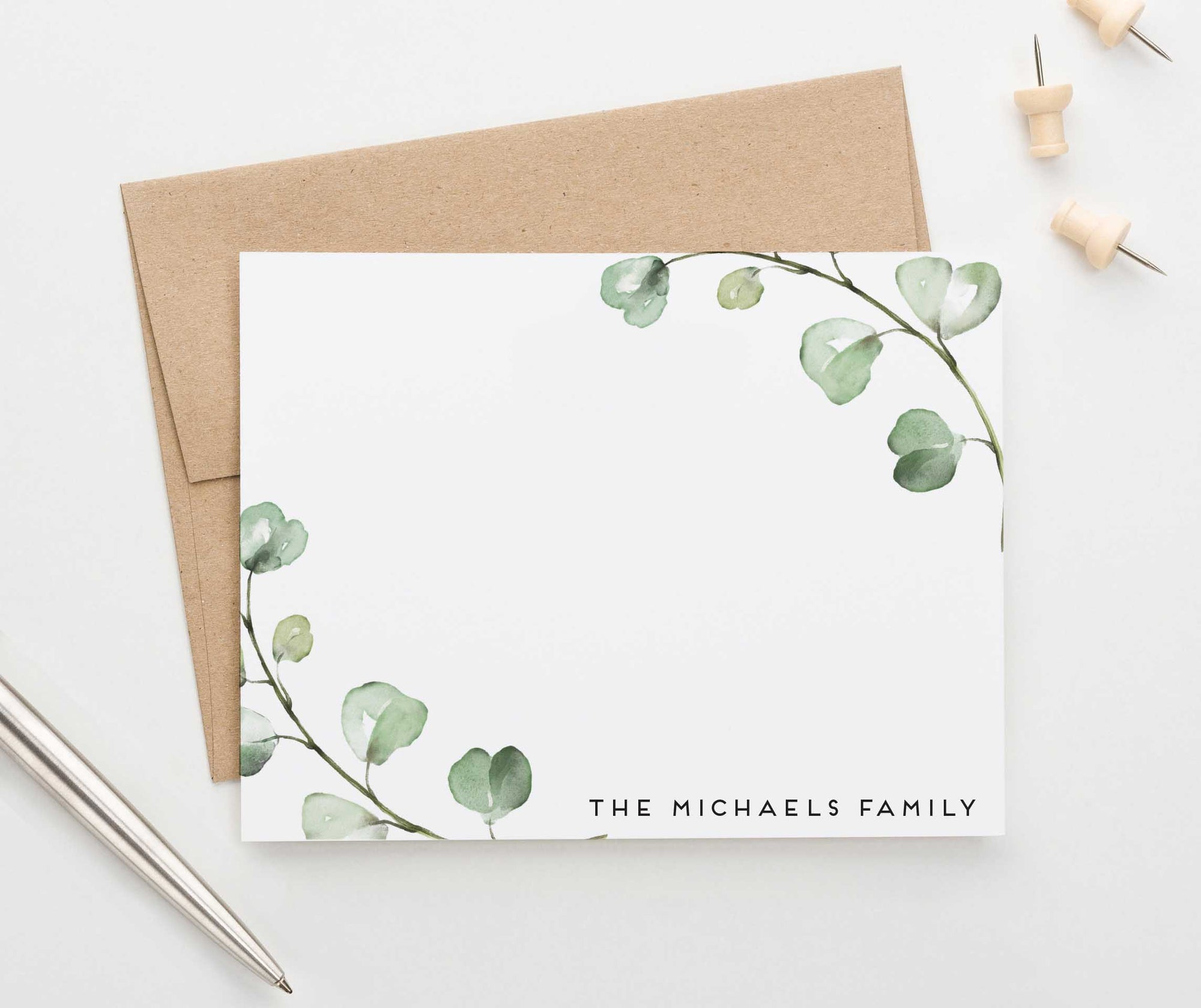 FS016 watercolor greenery branches family thank you notes personalized couples eucalyptus 3