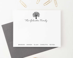 FS019 Personalized family tree stationery set names bottom couples simple 1