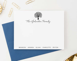 FS019 Personalized family tree stationery set names bottom couples simple 3