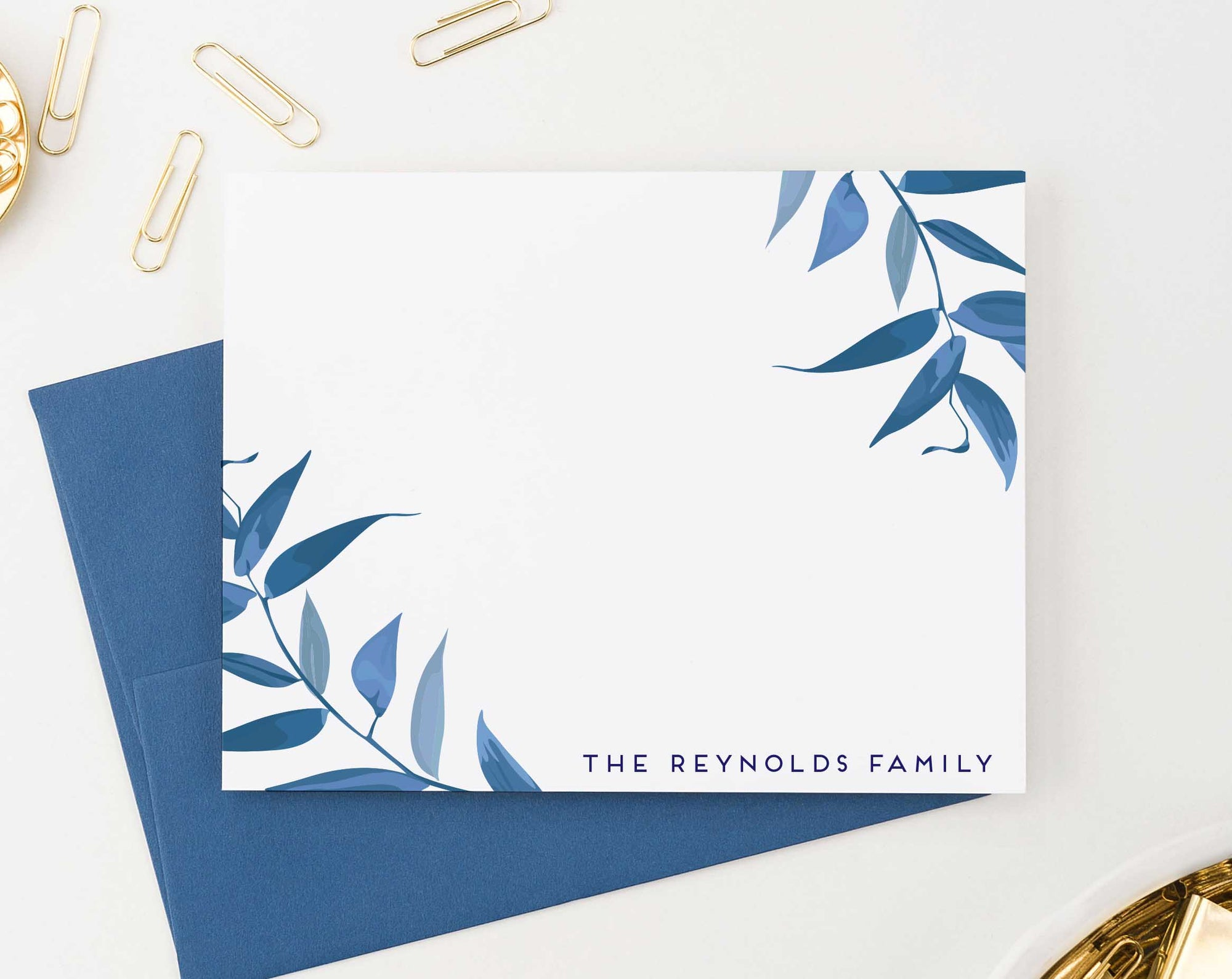 FS020 blue greenery branches thank you cards for family wedding stationary