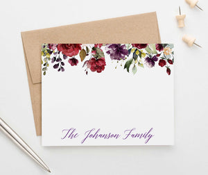 FS023 personalized burgundy floral wedding stationery family anniversary florals fall 1