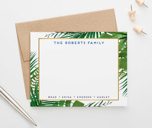 FS024 personalized palm tree border family stationary set couples greenery green gold 1