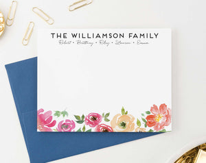 FS025 pink watercolor floral family thank you notes engagement couples flower 1