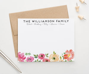 FS025 pink watercolor floral family thank you notes engagement couples flower