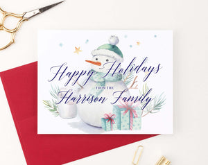 HGC001 snowman christmas greeting cards personalized presents elegant holiday