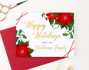 HGC002 elegant personalized  poinsettias christmas cards folded red lines holiday gold