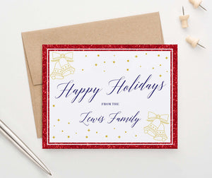 HGC003 glitter red border folded personalized holiday cards with gold bells elegant christmas