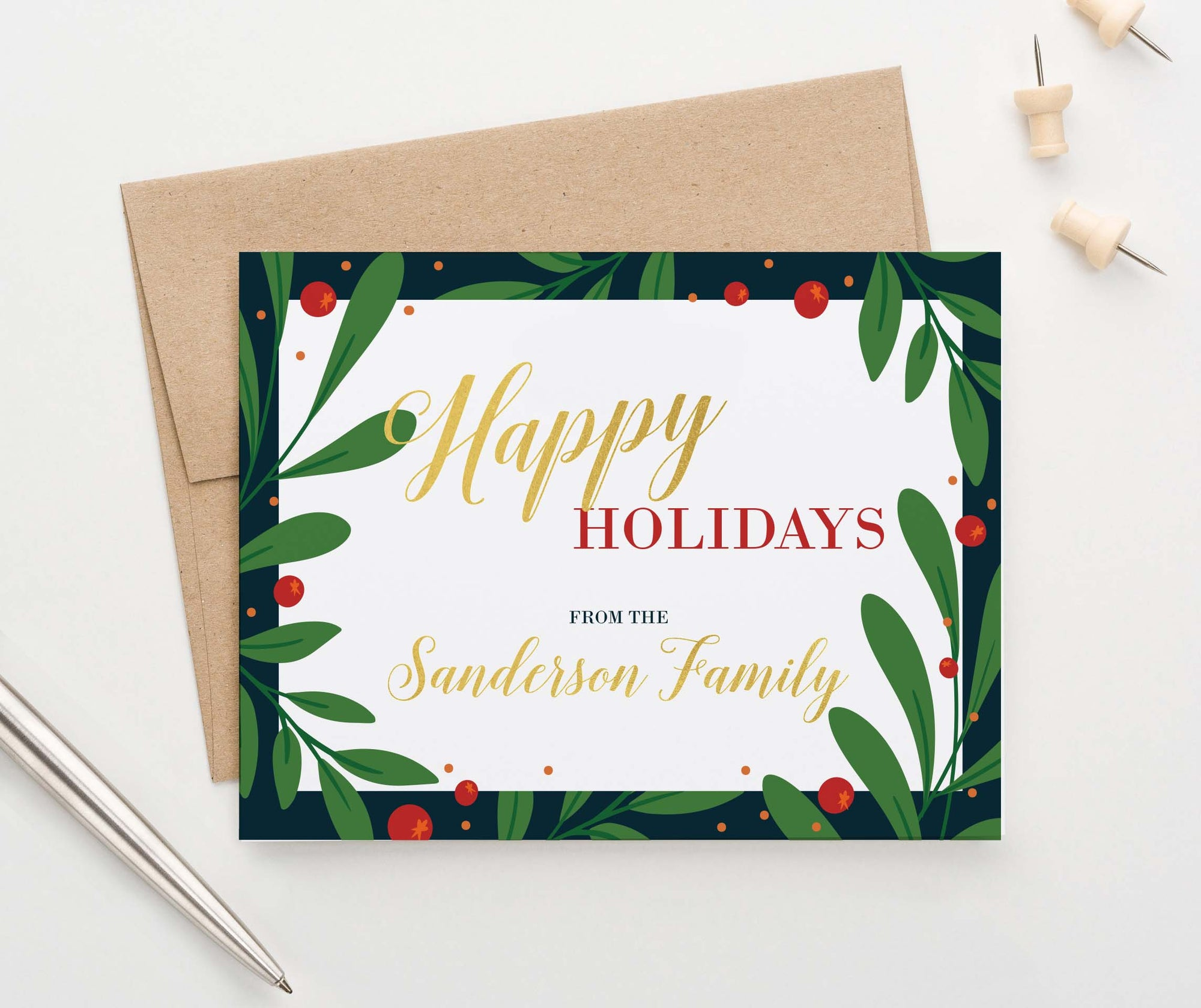 HGC004 holly border christmas greeting cards personalized green gold red